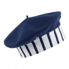 Bonnet Enfant En Laine Mérinos Marine Bleu Marine-Crème LAULHÈRE